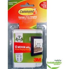 Command Medium Picture Hanging Strips, White, 12 Sets of Strips