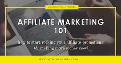 Affiliate Marketing 101 Looking for ways to make money through your blog without being inauthentic to yourself or your readers? Affiliate marketing can generate huge profits for you and high value for your audience. Dont miss out on this guide for using affiliate marketing to create a true win-win!