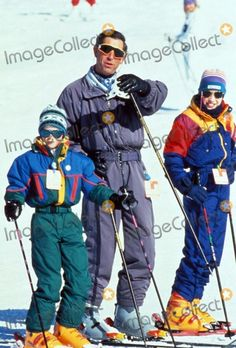 Prince Charles with Prince William and Prince Harry (Prince Henry) in Klosters , Switzerland 12-18-1994 Credit: Alpha-Globe Photos, Inc.