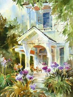 Locke Haven House<br>watercolour painting by Brenda Swenson Watercolor Architecture, Watercolor Landscape, Landscape Art, Landscape Paintings, Landscapes, Watercolor Artists, Watercolor Techniques, Watercolor Paintings, Watercolours