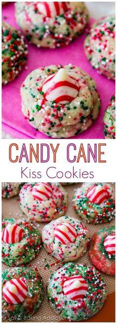 Candy Cane Kiss Cookies. A festive Christmas cookie everyone will love! sallysbakingaddiction.com