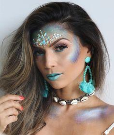 Mermaid makeup: 8 tutorials to become the water queen Gem Makeup, Queen Makeup, Crazy Makeup, Mermaid Makeup, Makeup Inspo, Makeup Inspiration, Mermaid Eyes, Mermaid Halloween Costumes, Halloween Kostüm