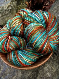 Handpainted sock yarn, fingerling yarn, Superwash Wool and Nylon yarn, 100 grams-Fox and goat $18.00