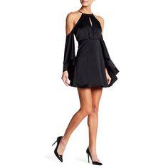 Do + Be Satin Cold Shoulder Dress ($35) ❤ liked on Polyvore featuring dresses, black, halter cocktail dress, satin dress, long sleeve cold shoulder dress, cut out dresses and cold shoulder cocktail dress