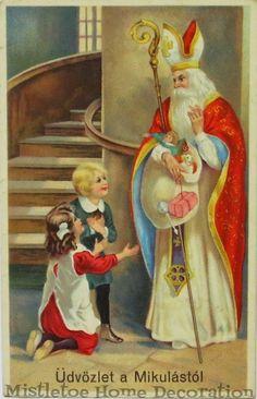 Hungarian Christmas Cards] An . Christmas Tree With Snow, Christmas Cards, Christmas Decorations, Christmas Postcards, Antique Art, Vintage Antiques, German Santa Claus, Saint Nicholas, Antique Christmas