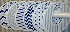 6 Custom Baby Closet Dividers Organizers in Navy Grey White Chevrons Dots and Stripes Boy Girl Baby Shower Nursery Gift Clothes Organizers