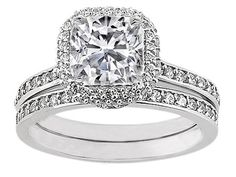 Cushion Diamond Bridal Set Pave  Diamond Halo and Band  0.71 tcw. In 14K White Gold
