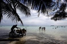 BY THE SHORE: A vendor moved his tricycle stand through shallow waters at a beach in Boca Chica, Dominican Republic, Sunday. (Orlando Barria/European Pressphoto Agency)