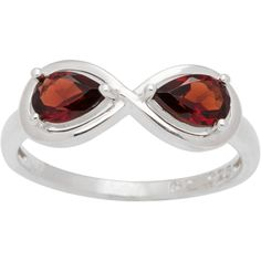 CHROMA Sterling Silver Pear-cut Birthstone 2-stone Infinity Ring (Size 7, garnet), Women's, Red