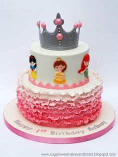 """Ombre Ruffled Princess Cake...Love that the princesses are identifiable but not """"disney""""!"""