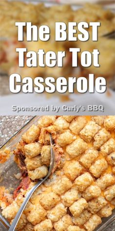 Nov 2019 - The BEST tater tot casserole recipe ever! Crunchy tater tots, smoky BBQ, and melty cheese - Only 4 ingredients ready in 30 minutes or less! Tater Tot Recipes, Easy Casserole Recipes, Casserole Dishes, Make Ahead Meals, Easy Meals, Best Tater Tot Casserole, Tater Tot Bake, Spaghetti Dinner, Baked Spaghetti