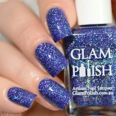"""""""YOU'RE CRUISIN' FOR A BRUISIN'"""" from """"RYDELL FOREVER"""" by GLAM POLISH: a navy blue 12D holographic, which is a mix of different holographic finishes. 2 coats."""