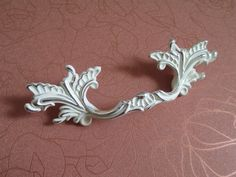 3  Shabby Chic Dresser Drawer Pulls Handles Off White Silver / French Country Kitchen Cabinet & Shabby Chic Dresser Pulls Drawer Pull Handles Bail Pulls by LBFEEL ...