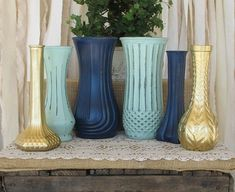 Vases,Hand Painted Flower Vases, upcycled flower vases, Rustic wedding centerpieces, Navy Blue, Mint and Gold wedding by minnie