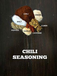 "DIY Chili Seasoning (Copycat Chili Spice Blend) A Mind ""Full"" Mom - Seasonings for Homemade Chili Seasoning Packet - Homemade Chili Seasoning, Chili Seasoning Mix, Homemade Spices, Homemade Seasonings, Creole Seasoning, Spice Blends, Spice Mixes, Ratatouille, Recipes"