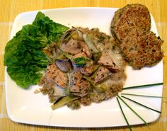 CHICKEN, LEEK & MUSHROOM STROGANOFF (strogan-sort-of) with ROSEMARY CHICKPEA SCONES 30g Leeks sliced 122g Chicken cubes 15g Mushrooms Black pepper Lemon juice Parsley Chives 100ml veg stock 1/4 pack Cambridge Leek & potato soup 2 tsp yogurt from milk allowance Light fry the leeks in a pan on a high heat until the begin to soften, add a small amount of water and cook for 3-4 mins. Add the mushrooms and the chicken to the pan, mix in with the leeks. Add the black pepper, parsley and chives…