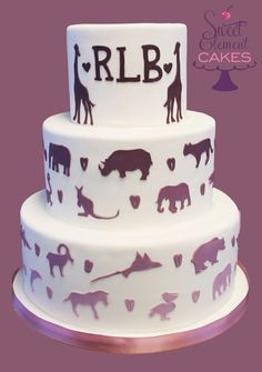 Purple Zoo Themed Wedding Cake by Sweet Element Cakes (Delivered to a wedding at The Bronx Zoo in NYC)
