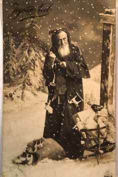 SCARY CL                      SCARY-CLAUS!!! 1910 RPPC RARE French Santa Threatens A Spanking Christmas Postcard