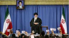 Ayatollah Ali Khamenei at a meeting of religious poets
