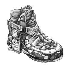 HIKING BOOT: Beyond the garden, and into the great outdoors. Take a Hike with a Back Pack, Bug Repellant, Rope, Raft, Map, Mountains, Canoe, Compass, Carabiner, Campfire, Tent, Trail Marker, Trail Mix, Ice Axe, Rocks, Shades, Sleeping Bag, Band-Aid, Pocket Knife, Snake Bite Kit, Hot Dog, Note Pad, Pencil, Wineskin, and a Walking Stick.