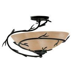 product image for Kenroy Home Twigs 1-Light Semi-Flush Mount Light Fixture in Bronze