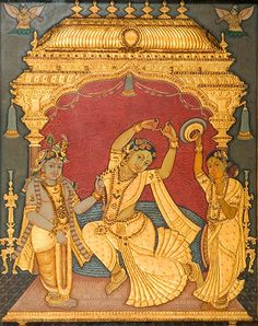 A beautiful antique Tanjore painting of Radha flanked by Krishna and her Attendant