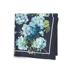 Men's Gucci Bloom Silk Twill Pocket Square ($125) ❤ liked on Polyvore featuring men's fashion, men's accessories, handkerchiefs, navy and mens handkerchief