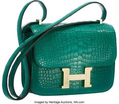 """Luxury Accessories:Bags, Hermes 18cm Matte Malachite Alligator Double Gusset Constance Bagwith Permabrass Hardware. Pristine Condition. 7""""Wid..."""