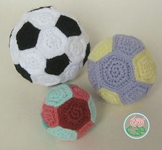 A pattern for a football/soccer ball and two additional balls. All made by connecting pentagons and hexagons together.