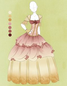 :: Commission Outfit April 19 :: by VioletKy on DeviantArt Dress Drawing, Drawing Clothes, Dress Sketches, Fashion Sketches, Character Inspiration, Character Design, Anime Dress, Fashion Art, Fashion Design