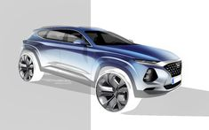 Car Design Sketch, Car Sketch, Santa Fe, Exterior Rendering, Exterior Design, Cool Sketches, Car Painting, Transportation Design, Automotive Design