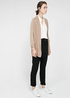 Wool-blend long cardigan - Cardigans and sweaters for Women | MANGO