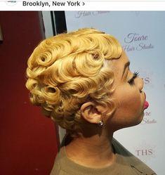 Pin Curls love her hair - Short Sassy Hair, Short Hair Cuts, Pixie Cuts, Love Hair, Gorgeous Hair, Finger Waves Short Hair, Dope Hairstyles, Vintage Hairstyles, Updo Hairstyle