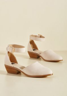 <p>With their rosewater hue, mid-height heels, and secure ankle straps, these vegan faux-leather shoes prove themselves to be the perfect match to ensembles galore! In fact, this ModCloth-exclusive pair goes even further with the addition of cushioned footbeds, gold hardware, and a transformative attitude.</p>