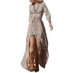 Vintage Women Floral Print V Neck Split Maxi Dress (241.075 IDR) ❤ liked on Polyvore featuring dresses, floral, flower print dress, boho dresses, floral chiffon dress, bohemian maxi dress and chiffon dresses