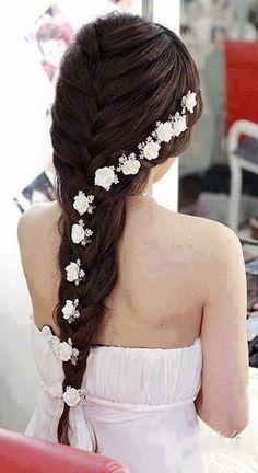 trenza con flores
