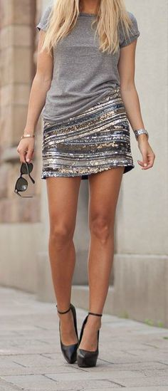 Sequin Mini + Grey Tee