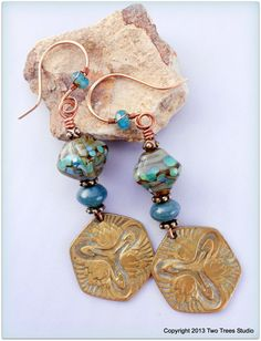 Blue-green-aqua and bronze vintage artisan earrings, with Numinosity Beads pyramidal bicone beads, fancy jasper, and vintage bronze charms.  By Two Trees Studio.