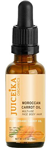 ORGANIC CARROT OIL Moroccan 100 Pure Moisture 100 Fresh Oil Ultralight  MULTIUSE REPLENISHES REPAIR AND MOISTURIZES THE SKIN  HAIR Moroccan Carrot Oil is BEAUTY OIL 05 floz15 ml by Juiceika Organic *** Details can be found by clicking on the image.