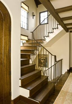 tudor-inspired stair with interesting window placement!