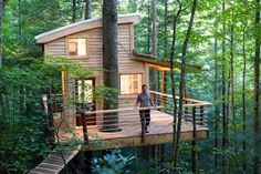 Known as the most adventurous rental in Red River Gorge, The Observatory Treehouse sits 50 feet above the gorge floor and is nestled in a thick canopy of Eastern White Pine trees. It was built by the Canopy Crew, and has everything you need for a comfortable stay - assuming you can make it up there.