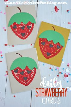 Doily Strawberry Cards – Kid Craft