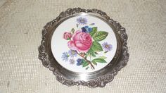 Antique Wallace Baroque Silver Ornate Porcelain Roses Floral Design Vanity Tray by FabulousFinds1 on Etsy