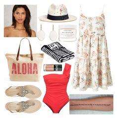 """Aloha"" by marianasm on Polyvore featuring Beach Riot, Rip Curl, Miss Selfridge, Antik Batik, Sensi Studio, Herbivore, Lanvin and Maybelline"