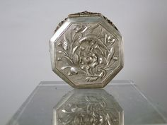 Antique Chinese Octagonal Silver Coin Box. Signed.