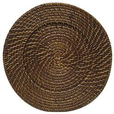 ChargeIt! By Jay Round Rattan Brick Brown 13-inch Charger (Set of 4)