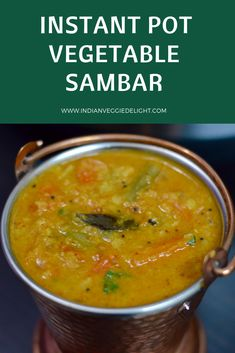 Vegetable Sambar is a South Indian lentil and vegetable stew made with lentils ,tamarind and unique blend spice blend together called sambar powder. Vegetable Crockpot Recipes, Soup Recipes, Vegetarian Recipes, Healthy Recipes, Lentil Recipes, Salad Recipes, Cooking Recipes, Easy Sambar Recipe, Sambhar Recipe