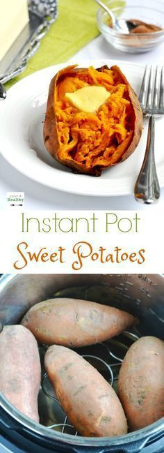 """When I show you how I make """"baked"""" sweet potatoes in the Instant Pot, you may never make them any other way again. They are so easy and delicious and ready in less than thirty minutes! 
