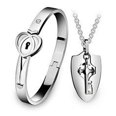 a33ba0586ca5 Engravable Lock Key Bracelet Necklace Couples Jewelry Gift Set Key Bracelet