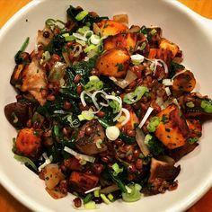 ... garlic roasted shiitake and cremini mushrooms, spinach, sweet potato